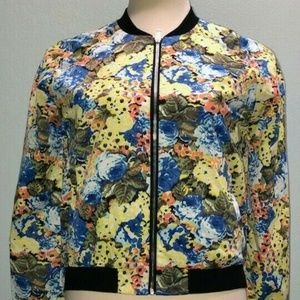 Tulle Yellow Blue Floral Bomber Jacket